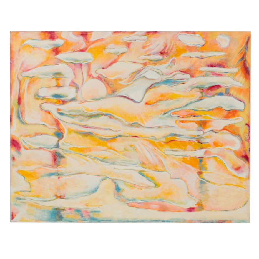 Ronald D. Newman Monumental Abstract Oil Painting, 2000