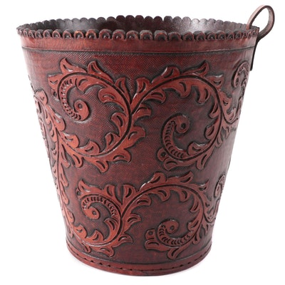 Tooled Leather Wastebasket with Acanthus Leaf Motif