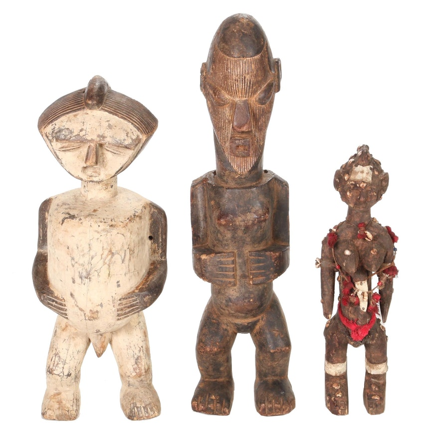 Central African Carved Wood Figures Including Mbete Style
