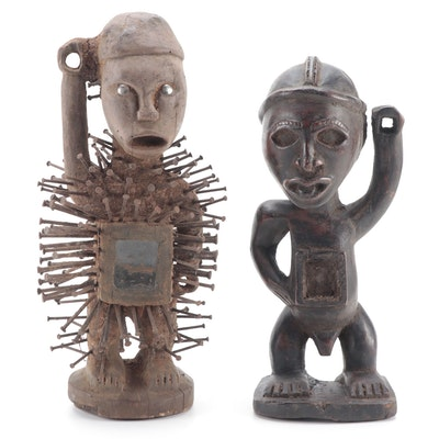 Yombe Inspired Hand-Carved Wood Figures, Central Africa