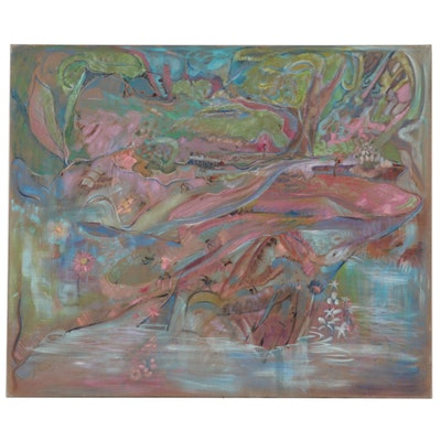 """Ronald D. Newman Monumental Abstract Oil Painting """"A Clear Mountain Stream..."""""""
