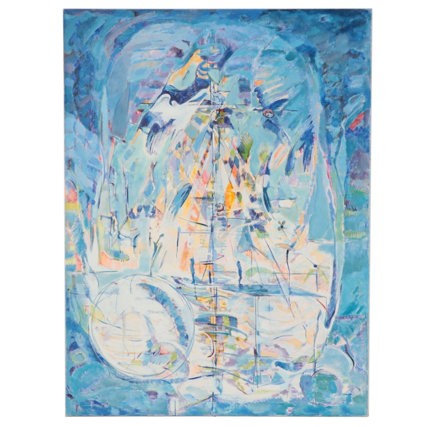 Ronald D. Newman Monumental Abstract Oil Painting, Circa 2000