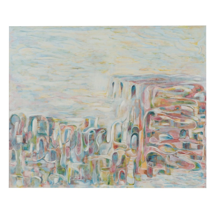 Ronald D. Newman Monumental Abstract Oil Painting, 2001