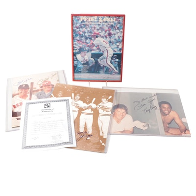 "Pete Rose, Joe Morgan ""Little Joe"" and Carl Yastrzemski Signed Photo Prints"