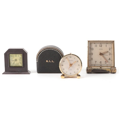 T. Anthony Gold Tone Travel Clock with Leather Case and Other Alarm Clocks