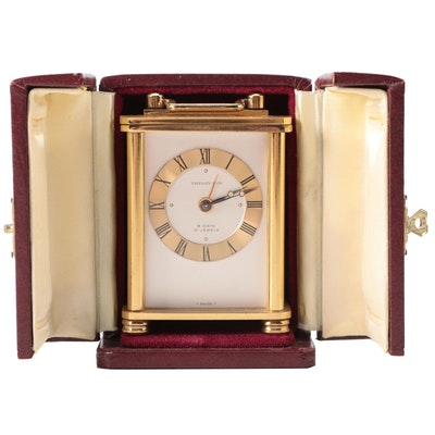 Tiffany & Co. Gold Tone Travel Clock with Leather Case