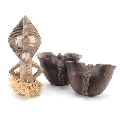 Suku/Yaka Style Cups and Papuan Inspired Figure