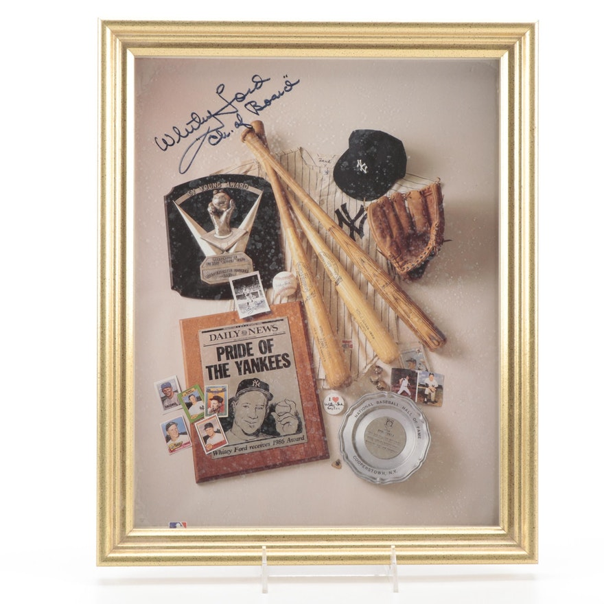 """Whitey Ford Signed """"Ch. of Board"""" New York Yankees Framed Photo Print"""