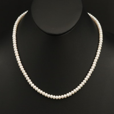 Button Pearl Necklace with 10K Clasp