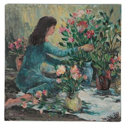 "Bill Salamon Acrylic Painting ""The Florist,"" Late 20th Century"