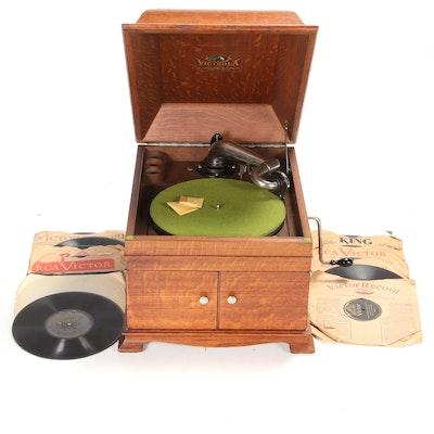 Victrola Record Player VV-IX-A with 78s, circa 1918
