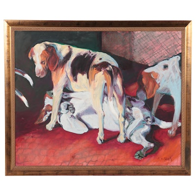 Leslie Shiels Large-Scale Oil Painting of Hounds, 21st Century