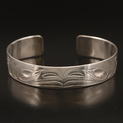 Signed Sheldon C. Williams Pacific Northwest Sterling Hand Engraved Cuff