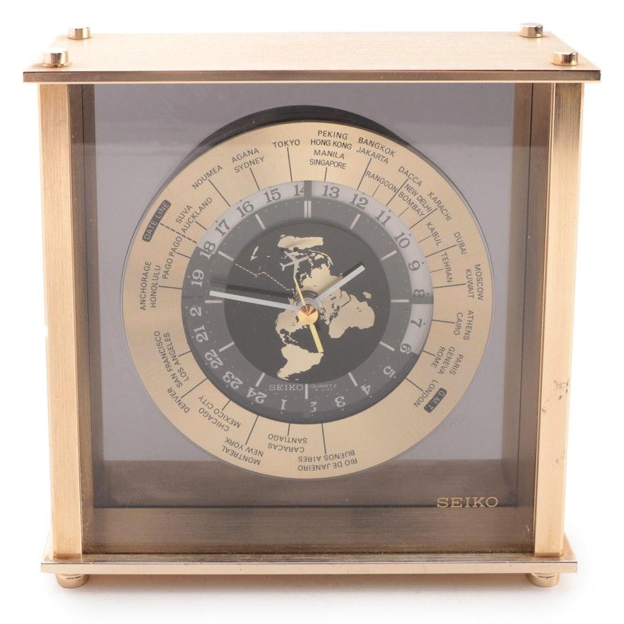 Seiko World Time Flying Airplane Gold Tone Desk Clock