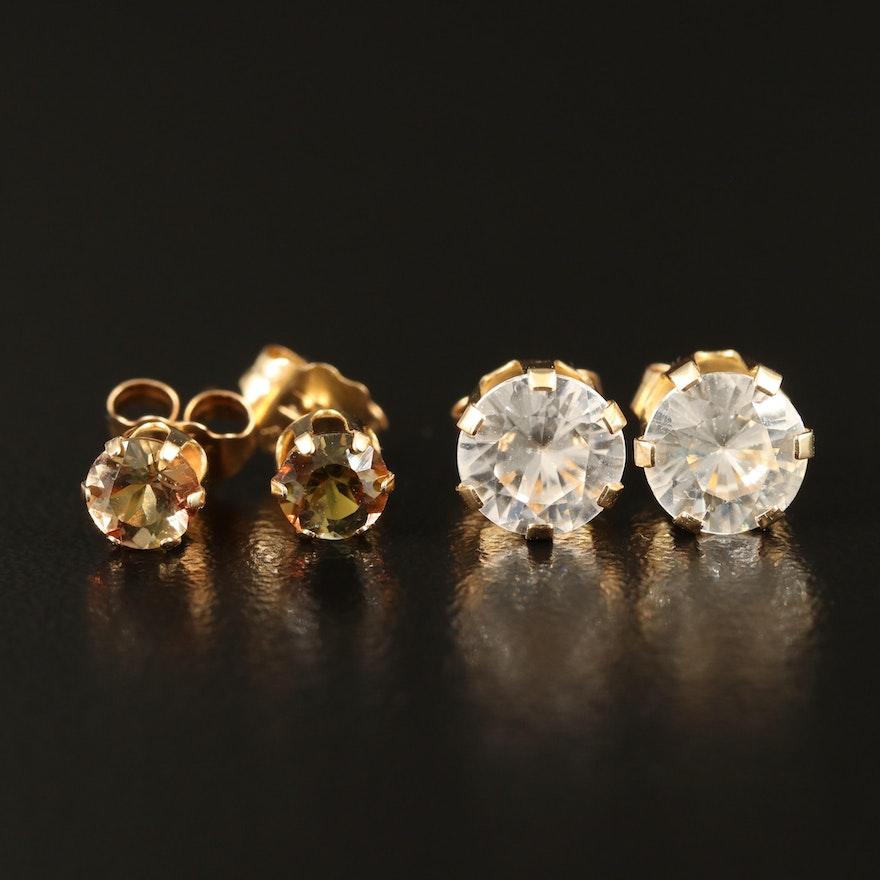 14K Andalusite and Zircon Stud Earrings