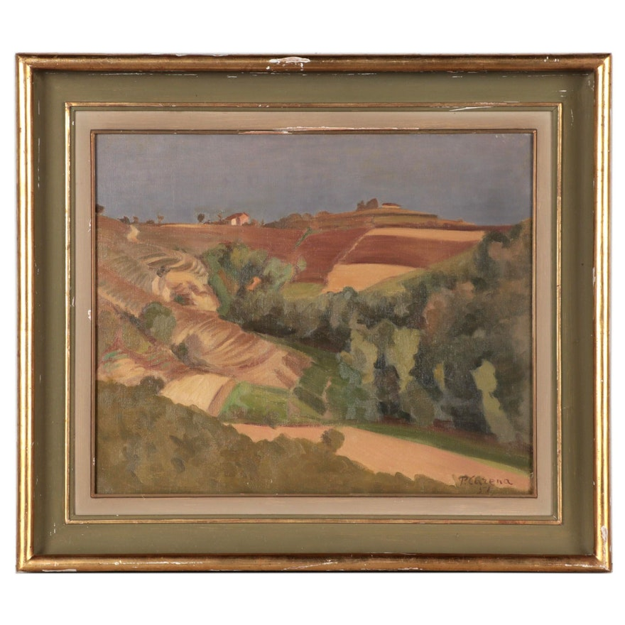 Primo Carena Landscape Oil Painting, 1957