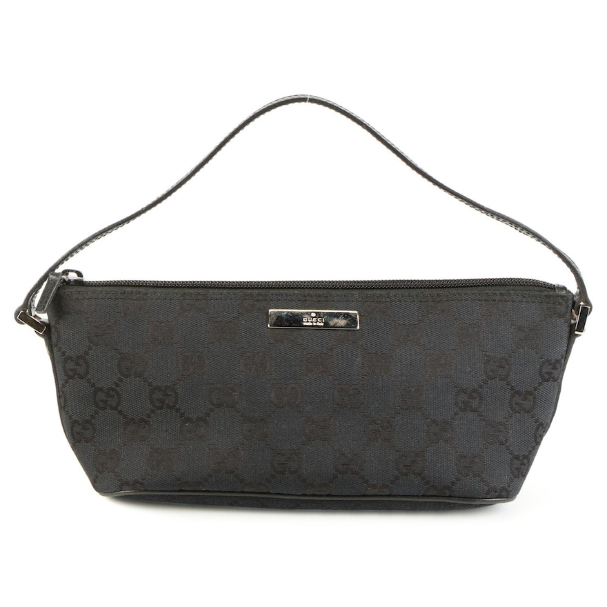 Gucci GG Black Canvas and Leather Baguette