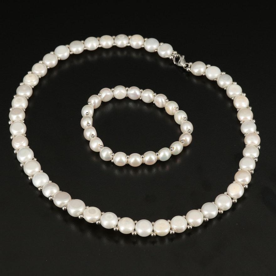 Sterling Pearl Necklace and Bracelet Set