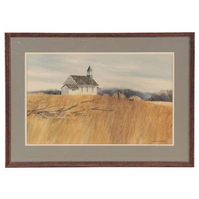 Jack O'Hara Watercolor Painting of Hunting Scene, Late 20th Century