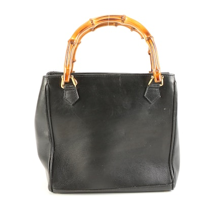 Gucci Bamboo Black Leather Tote Bag