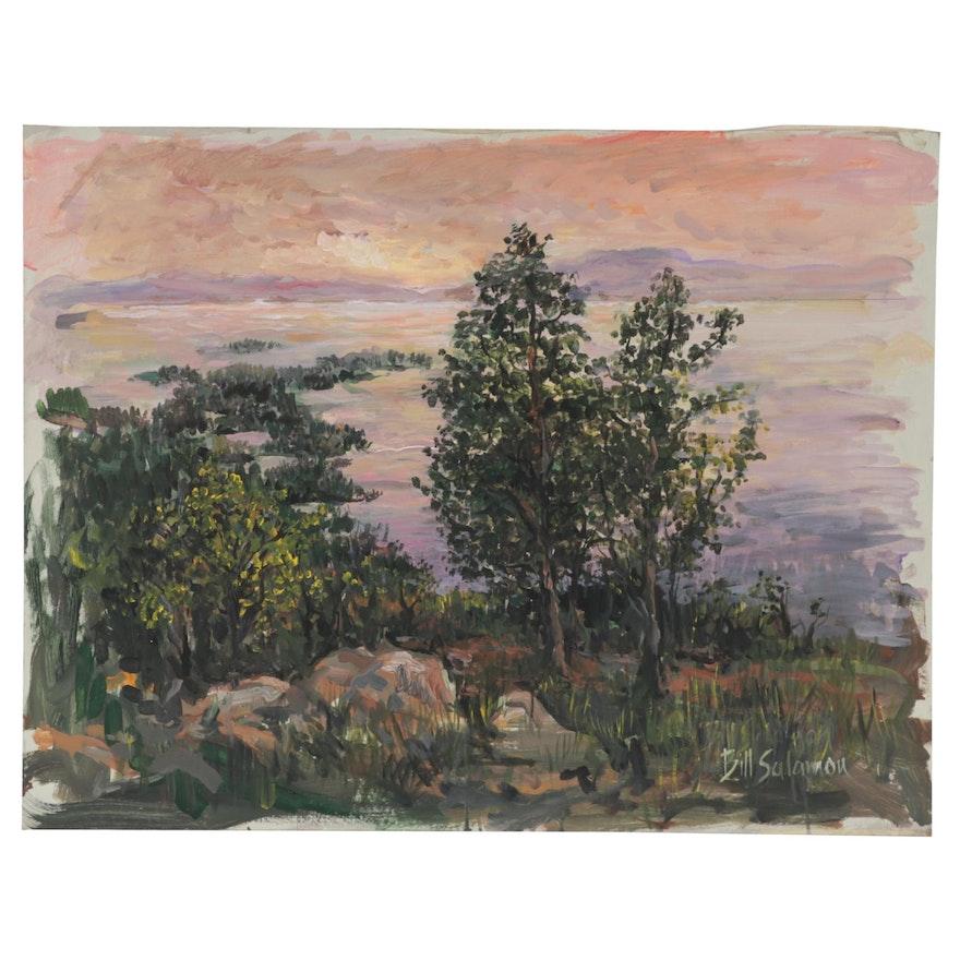 "Bill Salamon Acrylic Painting ""Pink Sky Lake"""