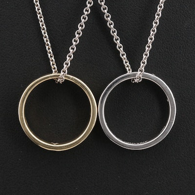 Sterling Diamond Ring Pendant Necklaces Including 10K Accents