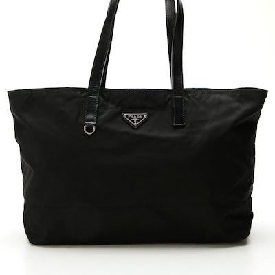 Prada Tote Bag in Nylon Tessuto with Leather Trim