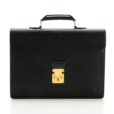 Louis Vuitton Ambassador Two Compartment Briefcase in Black Epi Leather