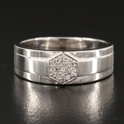Sterling Silver White Zircon Band