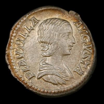 Ancient Roman Imperial AR Denarius of Plautilla, ca. 202 AD