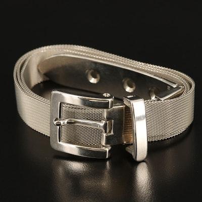 Italian Silver Tone Metal Mesh Belt