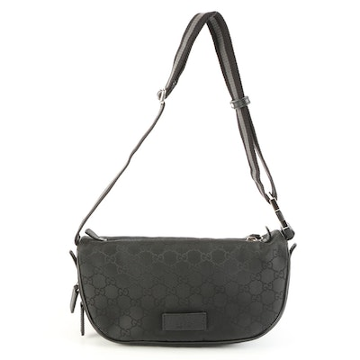 Gucci Belt Bag in GG Canvas with Web Belt and Leather Trim