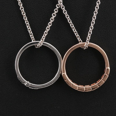 Sterling Diamond Ring Pendant Necklaces Including 10K Rose Gold