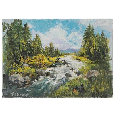 "Bill Salamon Acrylic Painting ""Forest Stream"""