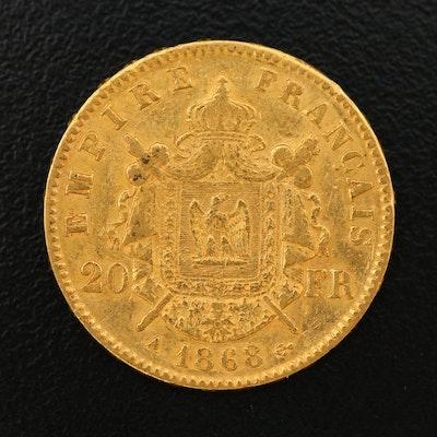 1868-A France 20-Francs Gold Coin