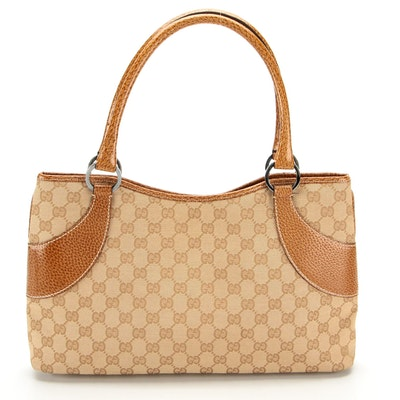 Gucci GG Canvas and Brown Grained Leather Tote