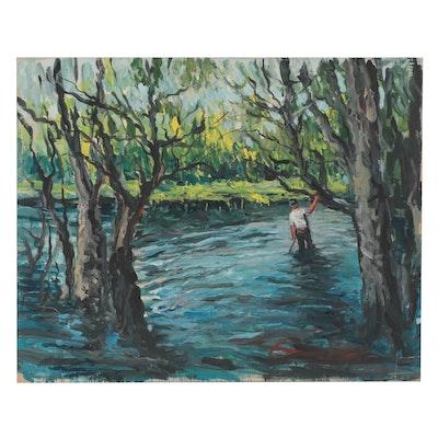 "Bill Salamon Acrylic Painting ""Catfishing"""