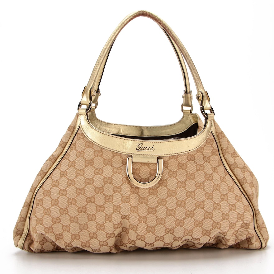 Gucci Hobo Bag in GG Canvas and Metallic Gold Leather