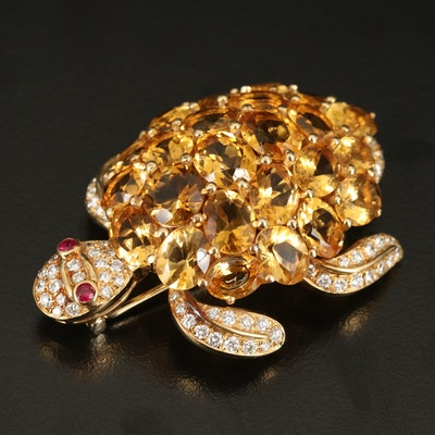 18K Citrine, Ruby and 2.31 CTW Diamond Turtle Double Clip Brooch