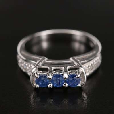 Sterling Sapphire Ring with Topaz Shoulders