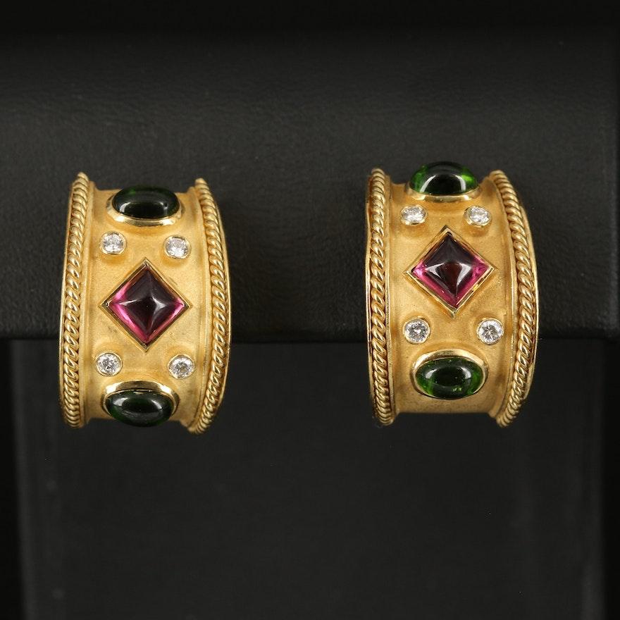 18K Gold Tourmaline and Diamond Earrings