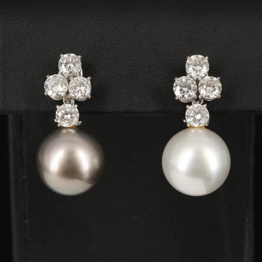 18K 15.00 MM - 15.10 MM Pearl and 4.27 CTW Diamond Drop Earrings