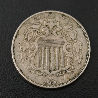 1866 Shield Nickel with Rays, 1st Year Issued