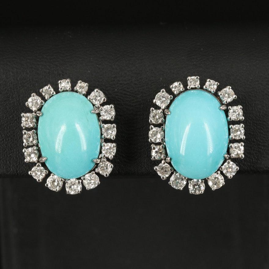 18K Turquoise and 2.00 CTW Diamond Earrings