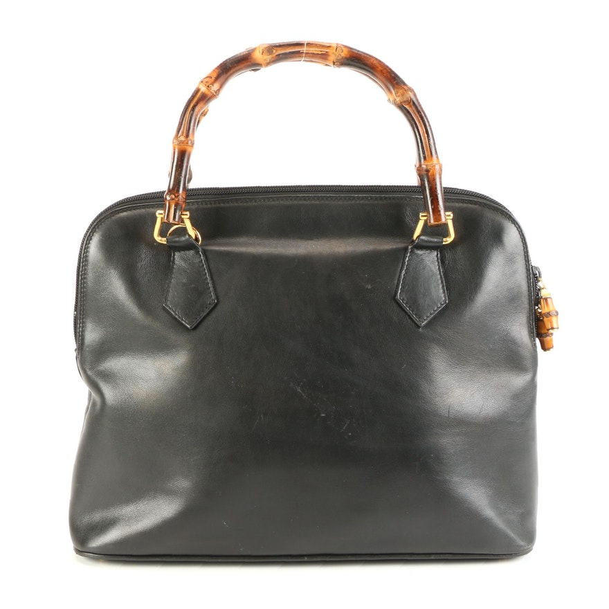 Gucci Bamboo Zip Handbag in Black Smooth Leather