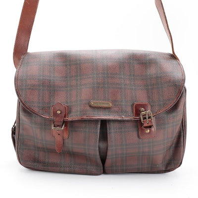 Ralph Lauren Messenger Bag in Red and Black Plaid Coated Canvas