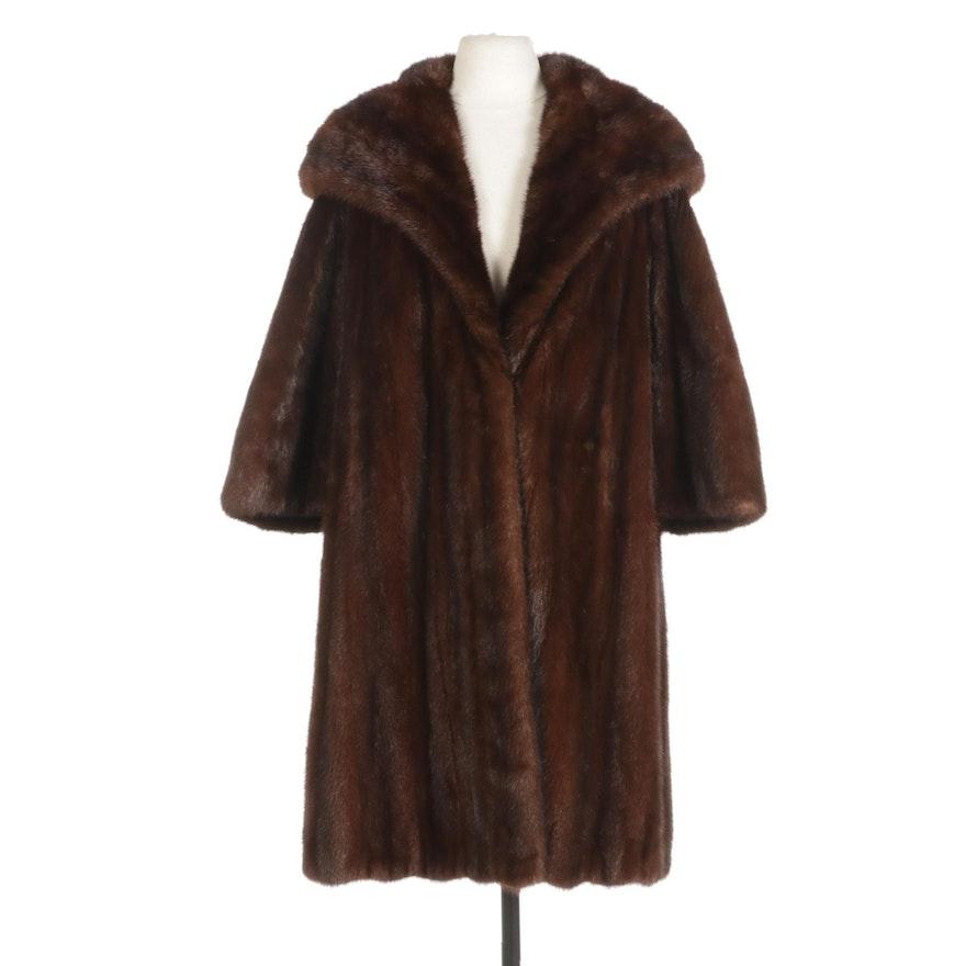 Mahogany Mink Fur Coat with Shawl Collar