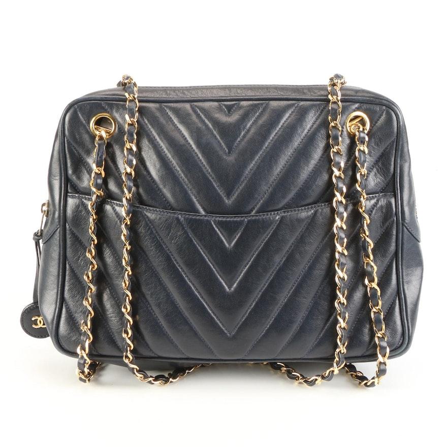 Chanel Dark Navy Leather Matelassé Shoulder Bag