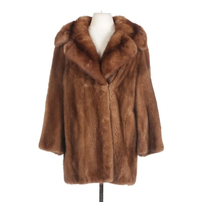 Chestnut Mink and Sable Fur Stroller Coat with Wide Notched Collar