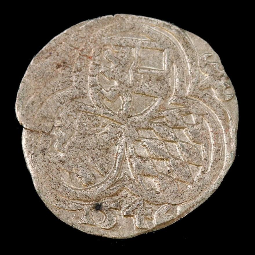 Matthaus Lang Von Wallenburg Silver 1/2 Kruezer Coin, 1546